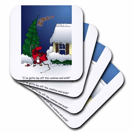 3dRose Larry Miller Cartoon about Santa Overeating at Christmas, Soft Coasters, set of 4