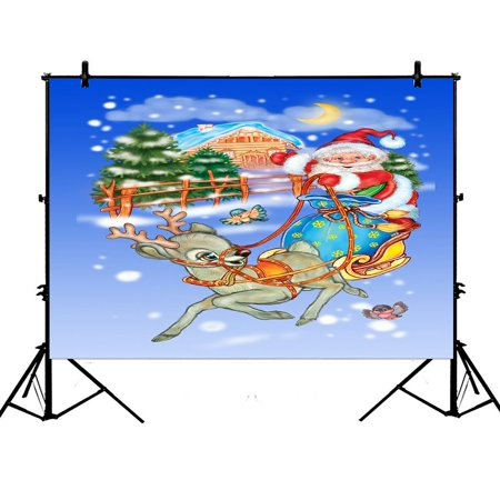 PHFZK 7x5ft Festival Backdrops, Merry Christmas Santa Claus in Sleigh with Reindeer Photography Backdrops Polyester Photo Background Studio Props](Reindeer Props)