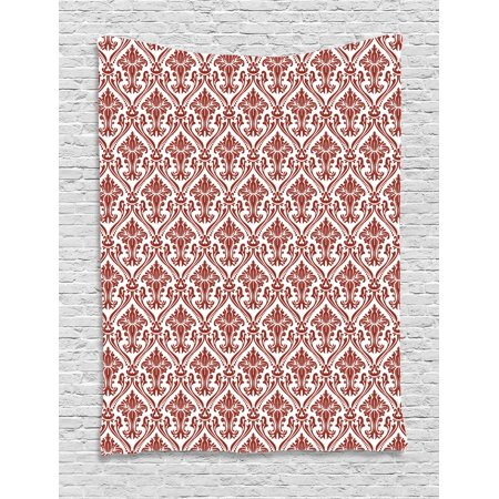 Bohemian Ruby (Damask Tapestry, Ancient Curlicues Pattern with Middle Eastern Influences Bohemian Retro Design, Wall Hanging for Bedroom Living Room Dorm Decor, Ruby and White, by Ambesonne)
