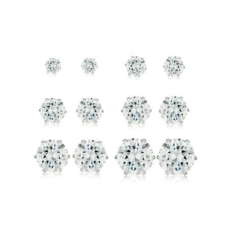 Polished Cubic Zirconia Stainless Steel Stud Earrings - 6 Pair Set