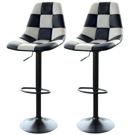 AmeriHome White Checkered Racing Bar Chairs - 2 - Checkered Racing