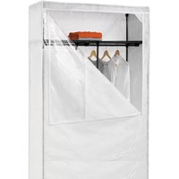 """Honey Can Do 46"""" Storage Wardrobe with Top Shelf and Cover, White"""