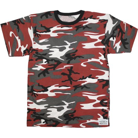 Red Camouflage Short Sleeve T-Shirt with ARMY UNIVERSE Pin - Size Large  (41