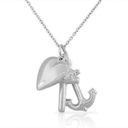 Triple Cross Pendant (925 Sterling Silver Polished Womens Girls Triple Charm Love Heart Anchor Cross Pendant Necklace)