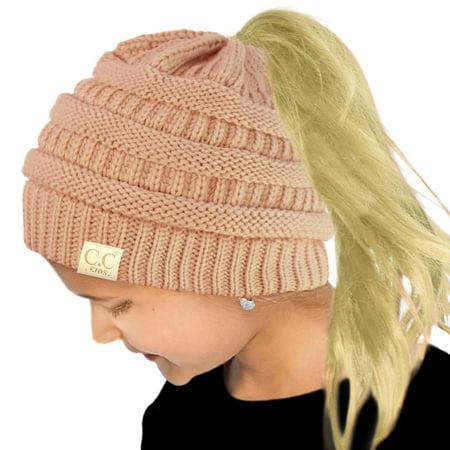 CC Kids Ponytail Messy Bun BeanieTail Soft Winter Knit Stretch Beanie Hat