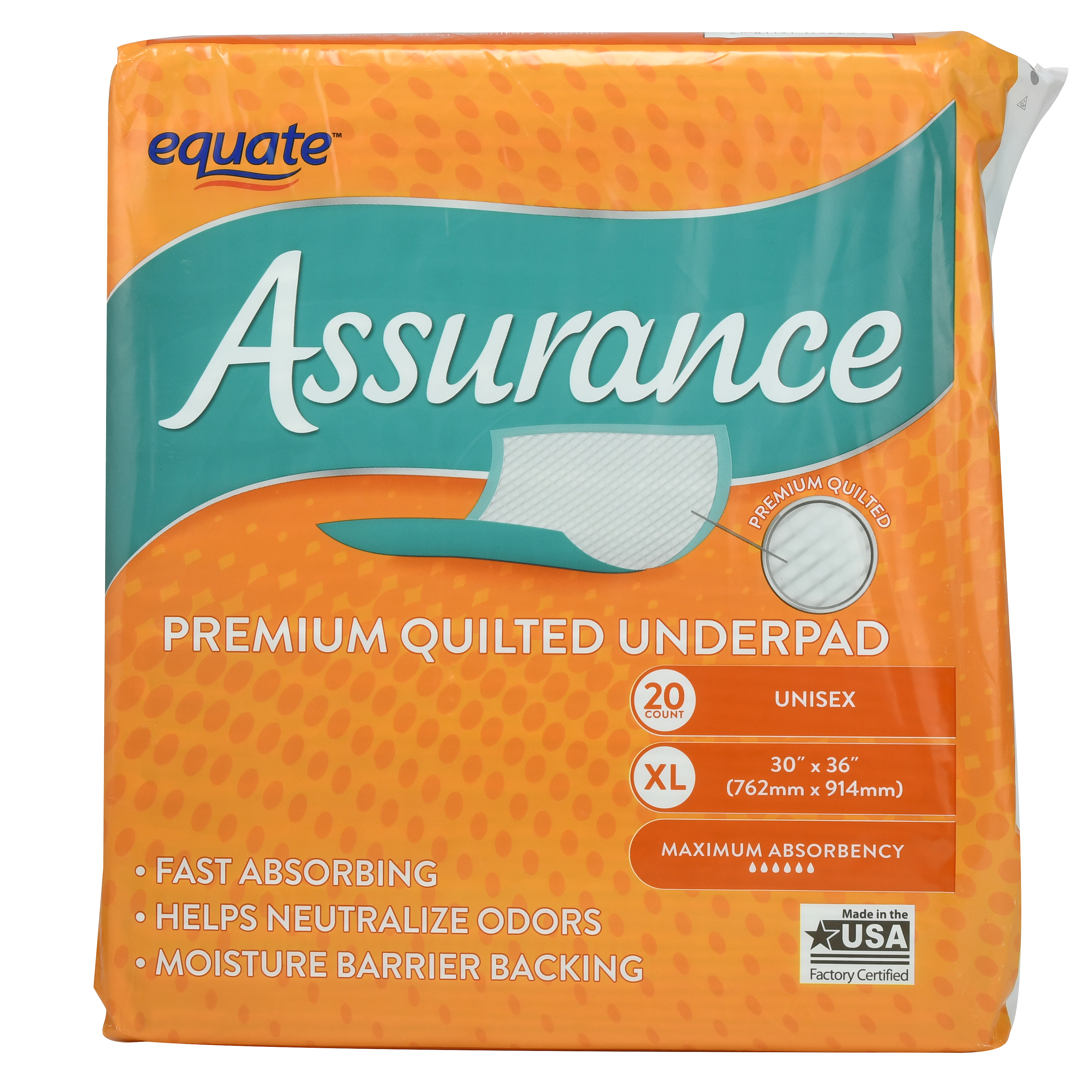Equate Assurance Premium Quilted Underpad, XL, 20 Ct