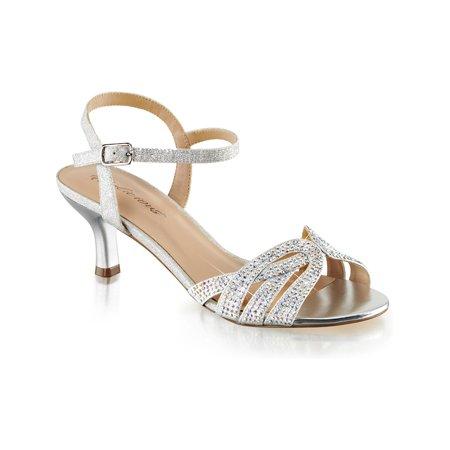 Silver Kitten Heels (Womens Kitten Heel Shoes Sparkly Silver Ankle Strap Sandals Rhinestone 2 1/2 In)