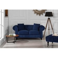 New Classic Modern Scroll Arm Velvet Chesterfield Love Seat Sofa (Black)