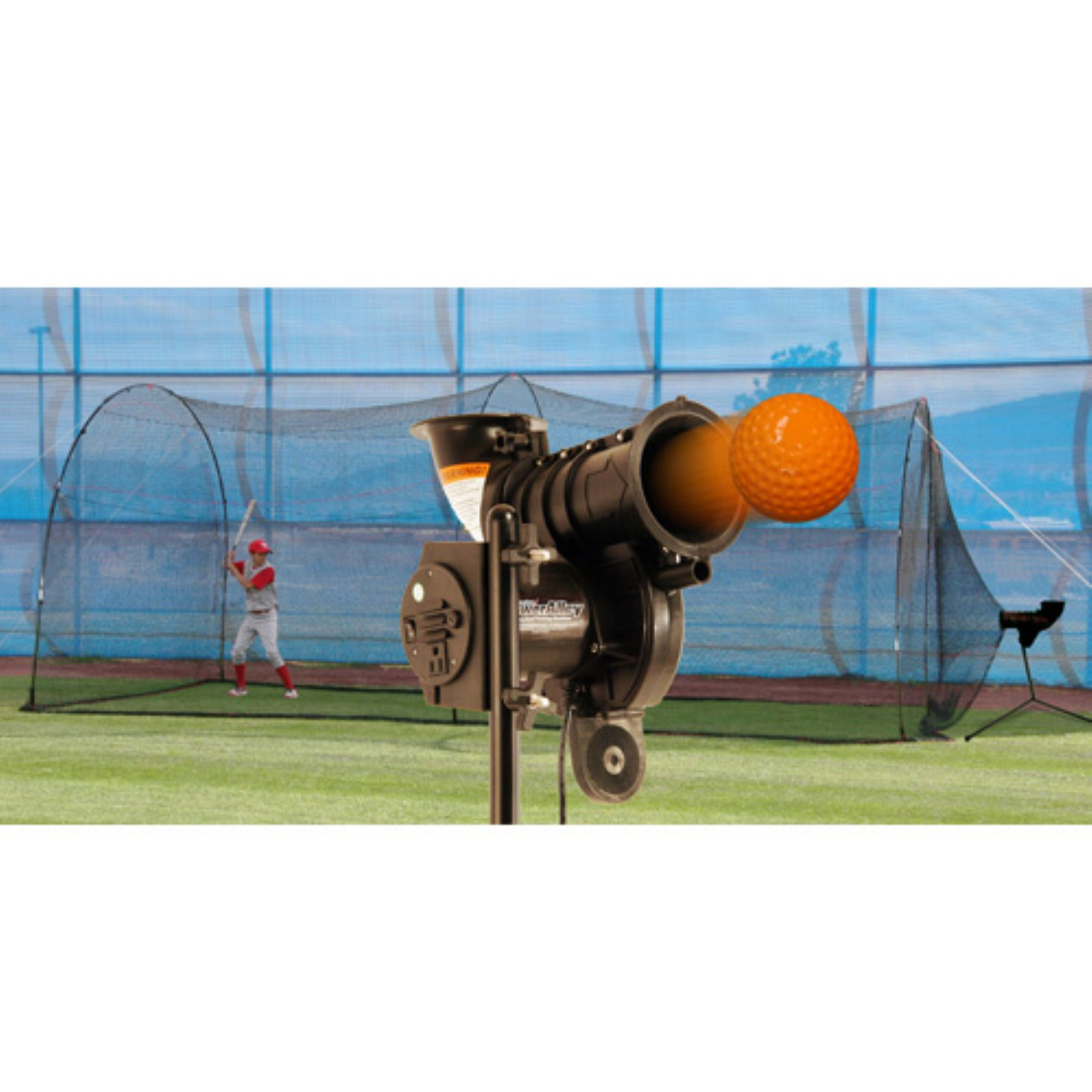 Heater Sports PowerAlley Lite-Ball Pitching Machine & PowerAlley Batting Cage