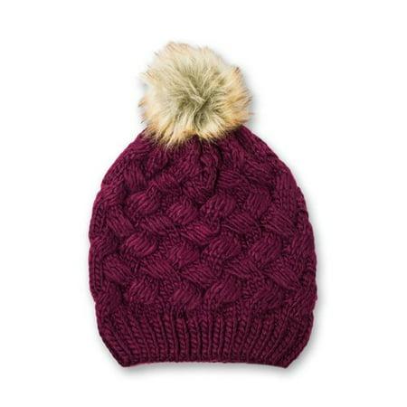 14841fd85c359 Faded Glory - Womens Cable Knit Beanie Hat with Faux Fur Pom Pom -  Walmart.com