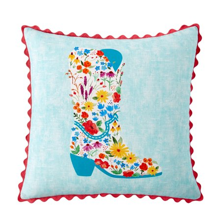 The Pioneer Woman Flowering Boot Decorative Throw Pillow, 18