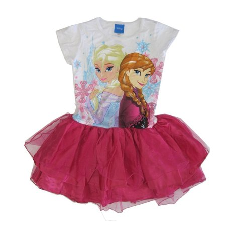 Disney Big Girls Fuchsia Elsa Anna Frozen Print Ruffle Tutu Dress - Disney Dresses For Adults