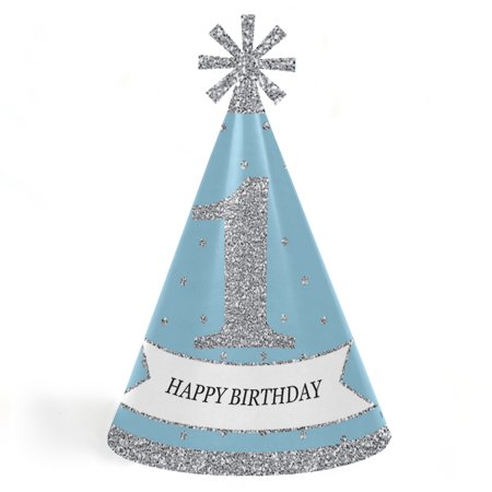 ONEderland - Cone Winter Wonderland Happy Birthday Party Hats for Kids and Adults - Set of 8 (Standard Size) - Sweet 16 Winter Wonderland Dresses
