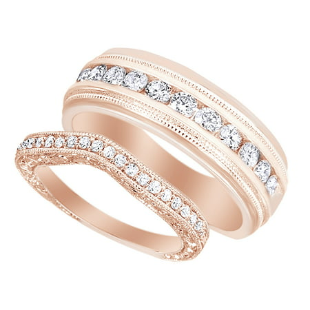 Round Cut White Natural Diamond His & Hers Wedding Band Set in 14K Rose Gold (0.75 Cttw)