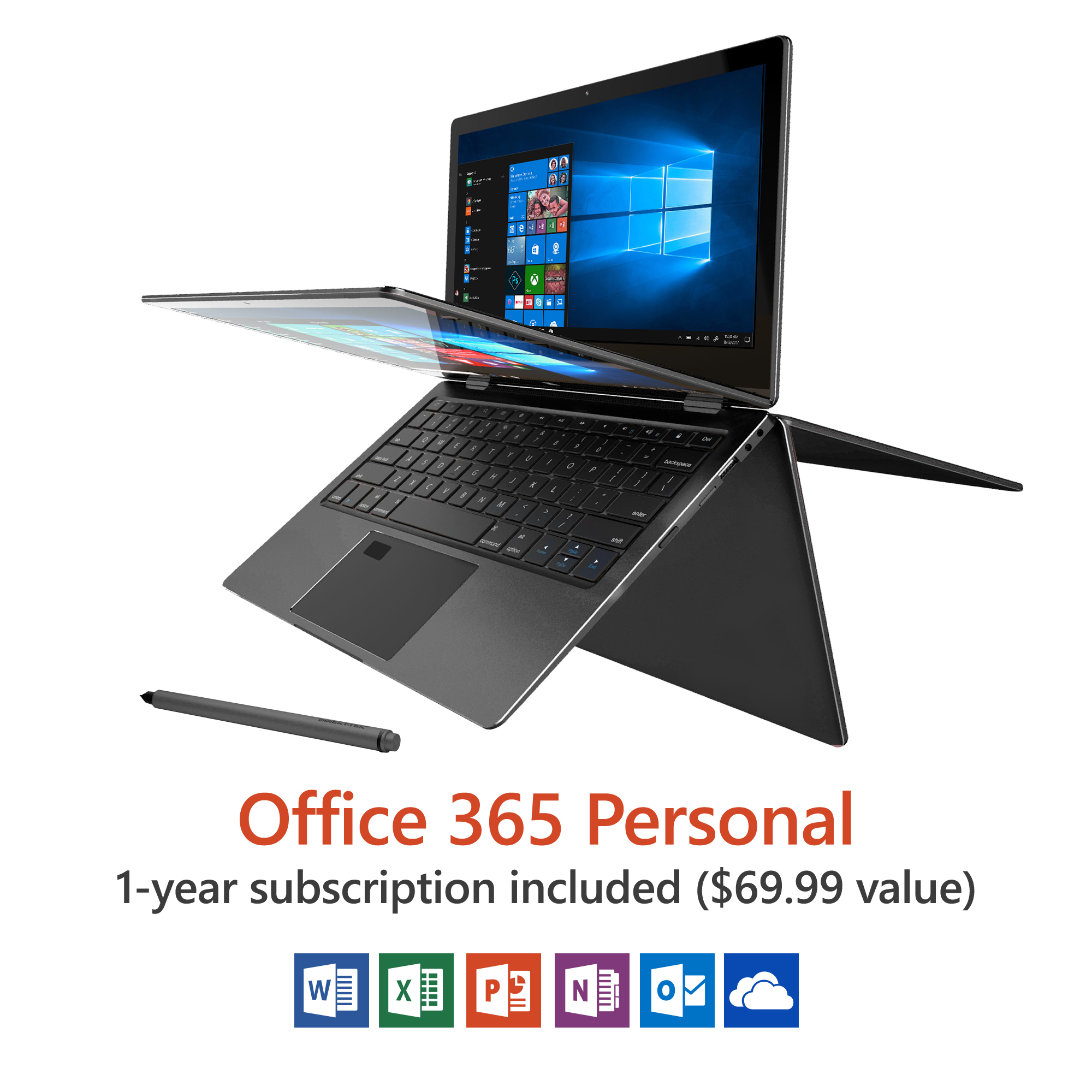 "Direkt-Tek 11.6"" Convertible Touchscreen Laptop, Windows 10, Office 365 Personal 1-Year Subscription... by Direkt-Tek"