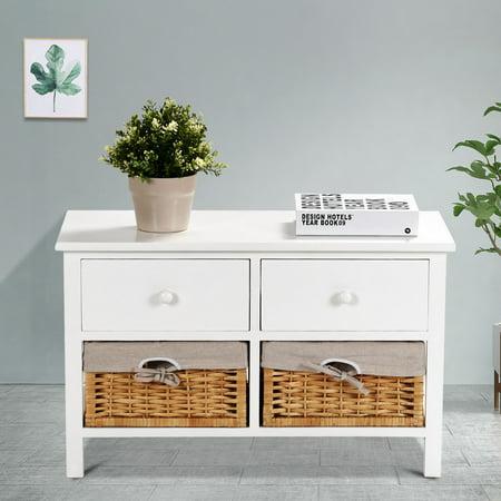 Costway Wood Storage Bench Organizer Shelf w/ 2 Drawer 2 Baskets - image 8 of 10