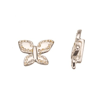 Butterfly Silver-Plated Leather Cord Slider Beads With Clear Preciosa Czech Crystal 15x19.6mm pack Of 2pcs](Butterfly Beads)