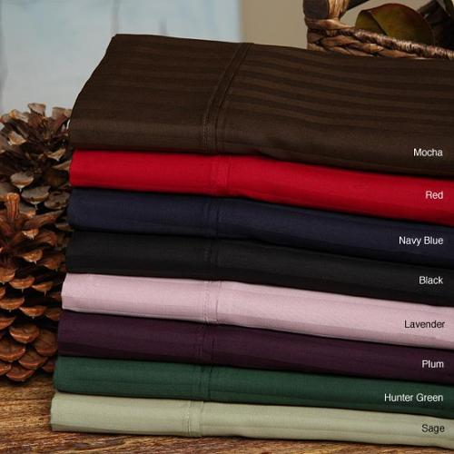 Egyptian Cotton 300 Thread Count Stripe Split King Sheet Set RED