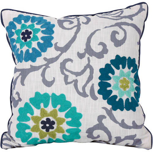 Better Homes and Gardens Floral Medallion Decorative Throw Pillow, Red and Blue by Keeco
