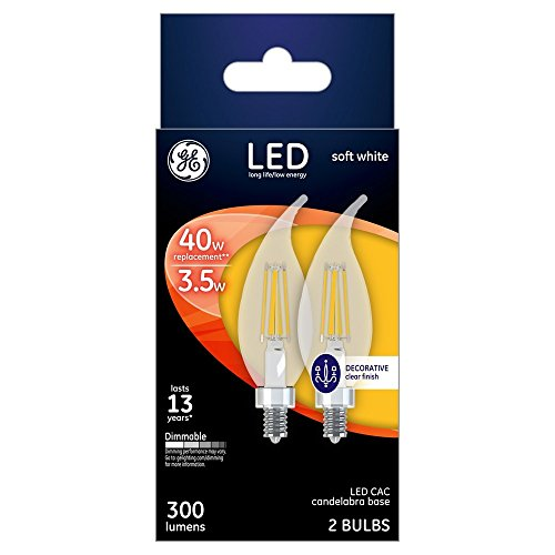 Ge 23090 Led Chandelier Light Bulb, Soft White, Clear, Pack Of 2