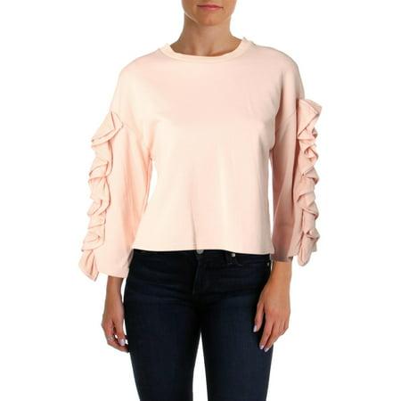 - JOA Womens Ruffled Ribbed Trim Sweatshirt