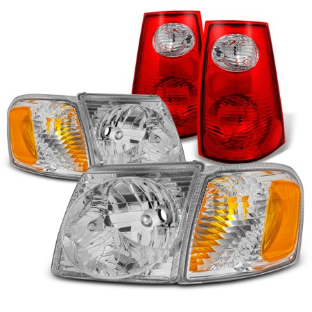 For 01-05 Ford Explorer Sport Trac Chrome Headlight+Corner Lamp+Tail Brake light