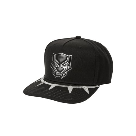 Men's Marvel Comics Black Panther Flat Bill Cap With Ballistic Nylon Bill and Chrome Weld Logo