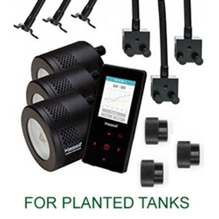 Kessil THREE A360WE Tuna Sun PLANTED TANK LED Lights with Controller, THREE Goosenecks & THREE 90 Degree Adapters Package