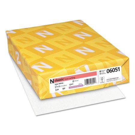 Classic Inkjet - Neenah Paper CLASSIC Linen Paper, 24lb, 97 Bright, 8 1/2 x 11, Solar White, 500 Sheets -NEE06051