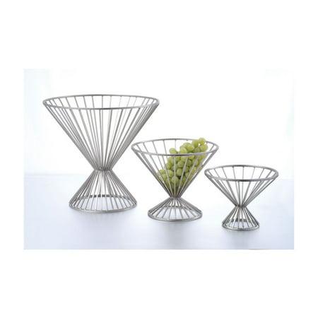 Wire Baskets Chrome 8.75 Inch Round Basket w/ Base 6.375 Inch Tall ()