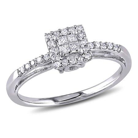 Princess Cut Diamond Halo Engagement Ring 1/5 Carat (ctw) in 10K White