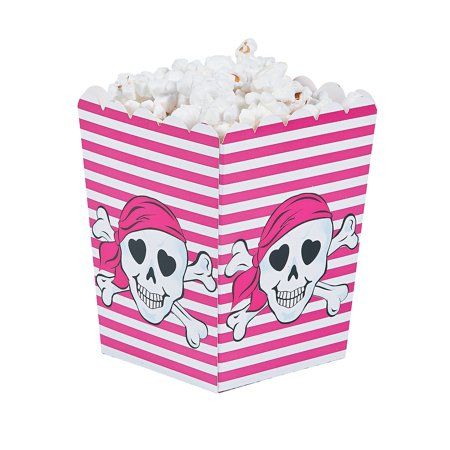 Fun Express - Pink Pirate Popcorn Boxes (24pc) for Birthday - Party Supplies - Containers & Boxes - Paper Boxes - Birthday - 24 Pieces (Birthday Fun Box)