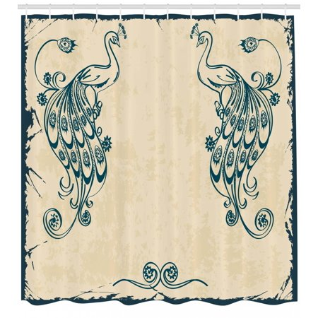 Peacock Shower Curtain Retro Style Vintage Artwork With Peacocks Animal Ornamental Lines Classic Artful