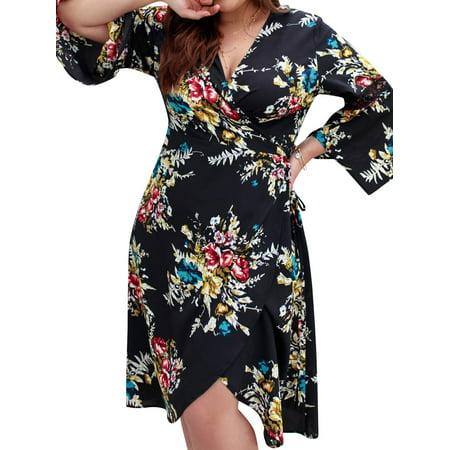 STARVNC Women Cross V Neck Bell Sleeves Front Split Floral Print Mini (Cross Front Mini Dress)