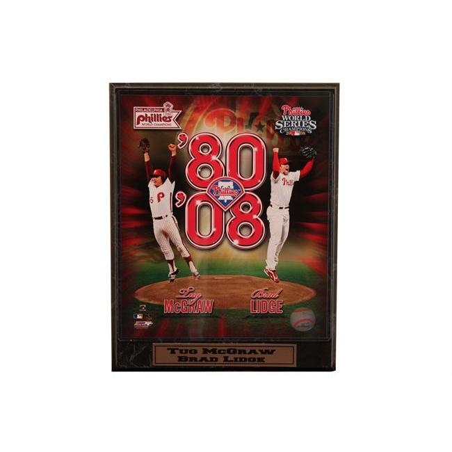 Encore Select 510-BBPHI8008 Tug McGraw and Brad Lidge Photograph Nested on a 9 in. x12 in. Plaque