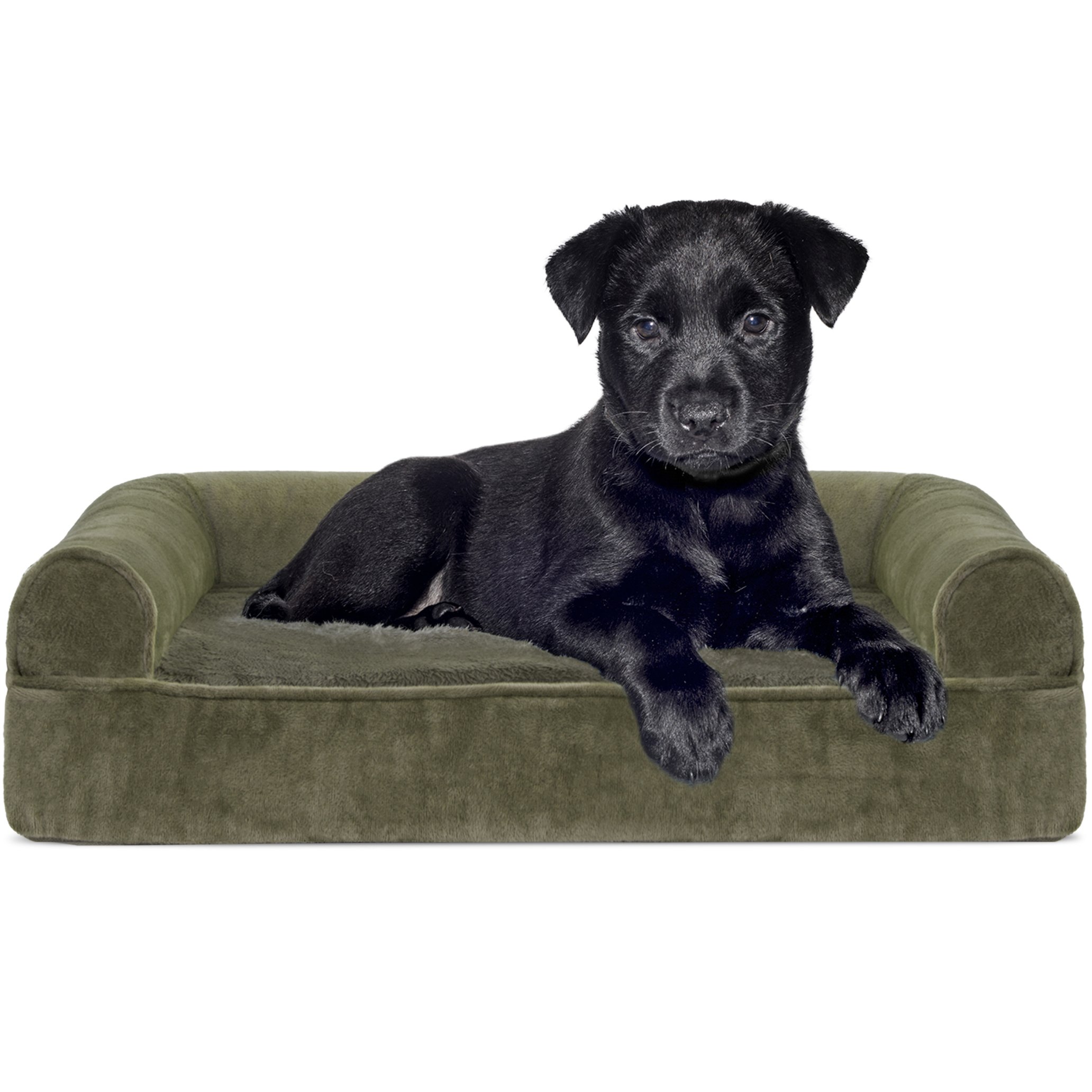 FurHaven Pet Dog Bed | Orthopedic Faux Fur & Velvet Sofa-Style Couch Pet Bed for Dogs & Cats, Dark Sage, Small