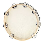 """10"""" Hand Held Tambourine Drum Bell Birch Metal Jingles Percussion Musical Educational Instrument for KTV Party Kids Games"""