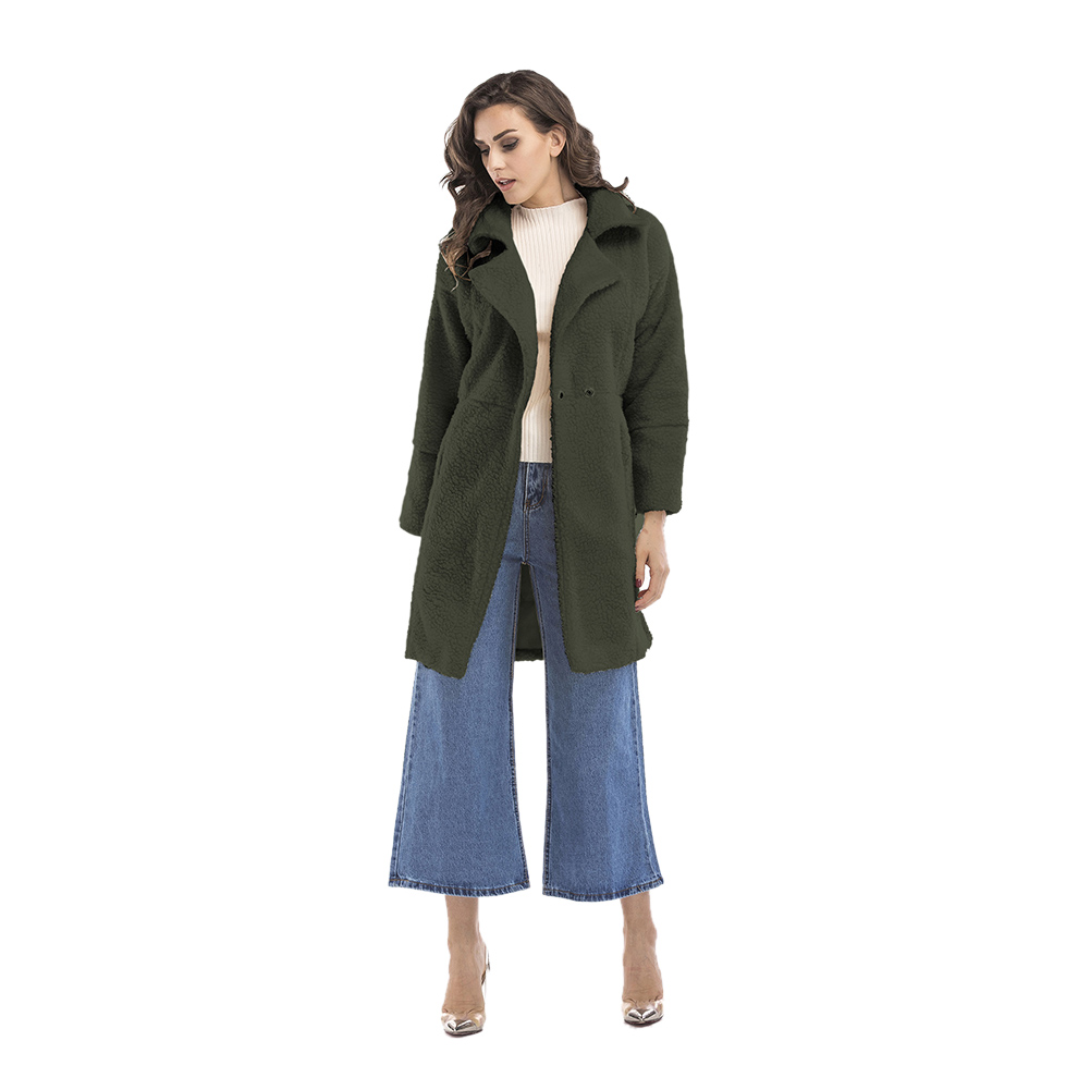 Winter Blended Coat Women Casual Long Open Front Coat Trench Button Cardigan, Army Green