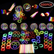 Glow Sticks Bulk 500 PCS Premium Glow In The Dark Light Sticks - Makes Tons of Glow Necklaces and Glow Party Favors for Kids and Adults Concert F-120
