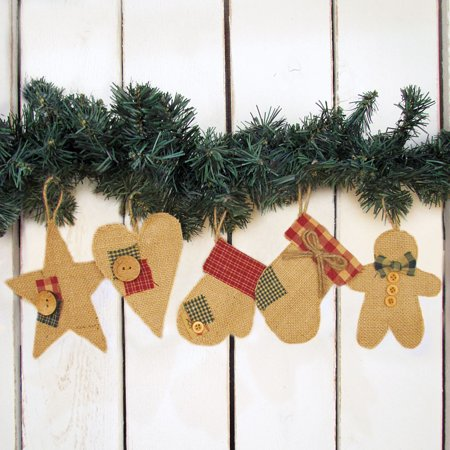 Burlap Christmas Shape Ornaments Set of 5 byJubilee Creative Studio ()