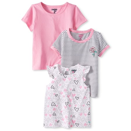 - Ruffle Sleeve, Striped & Solid T-shirts, 3-pack (Baby Girls & Toddler Girls)
