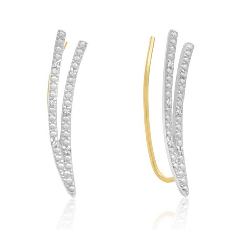 Diamond Accent Double Row Ear Climbers In Gold ()