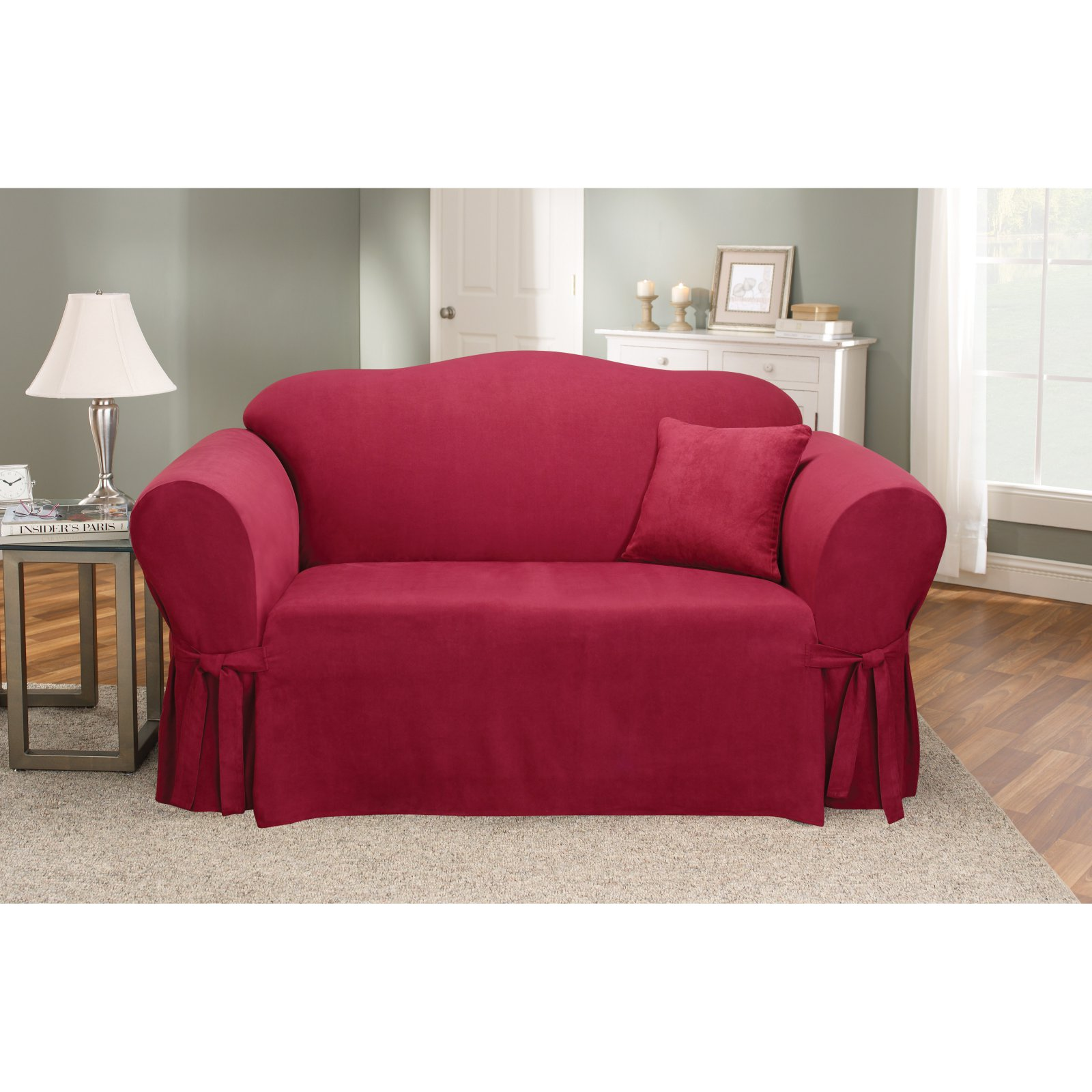 Charmant Sure Fit Soft Suede Sofa Slipcover