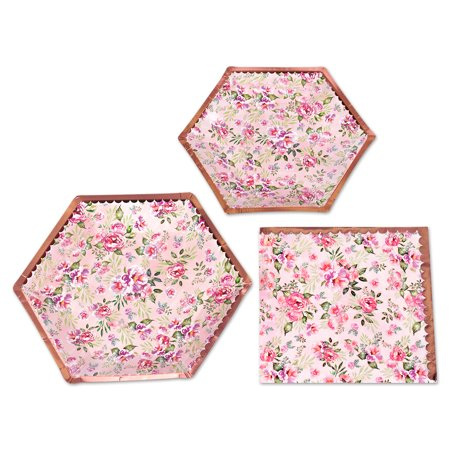 Koyal Wholesale Vintage Floral Tea Party Set, Blush Pink Peonies, 48 Piece Set 9-Inch and 7-Inch Plates, 50-Pack Napkins - Punk Wholesale