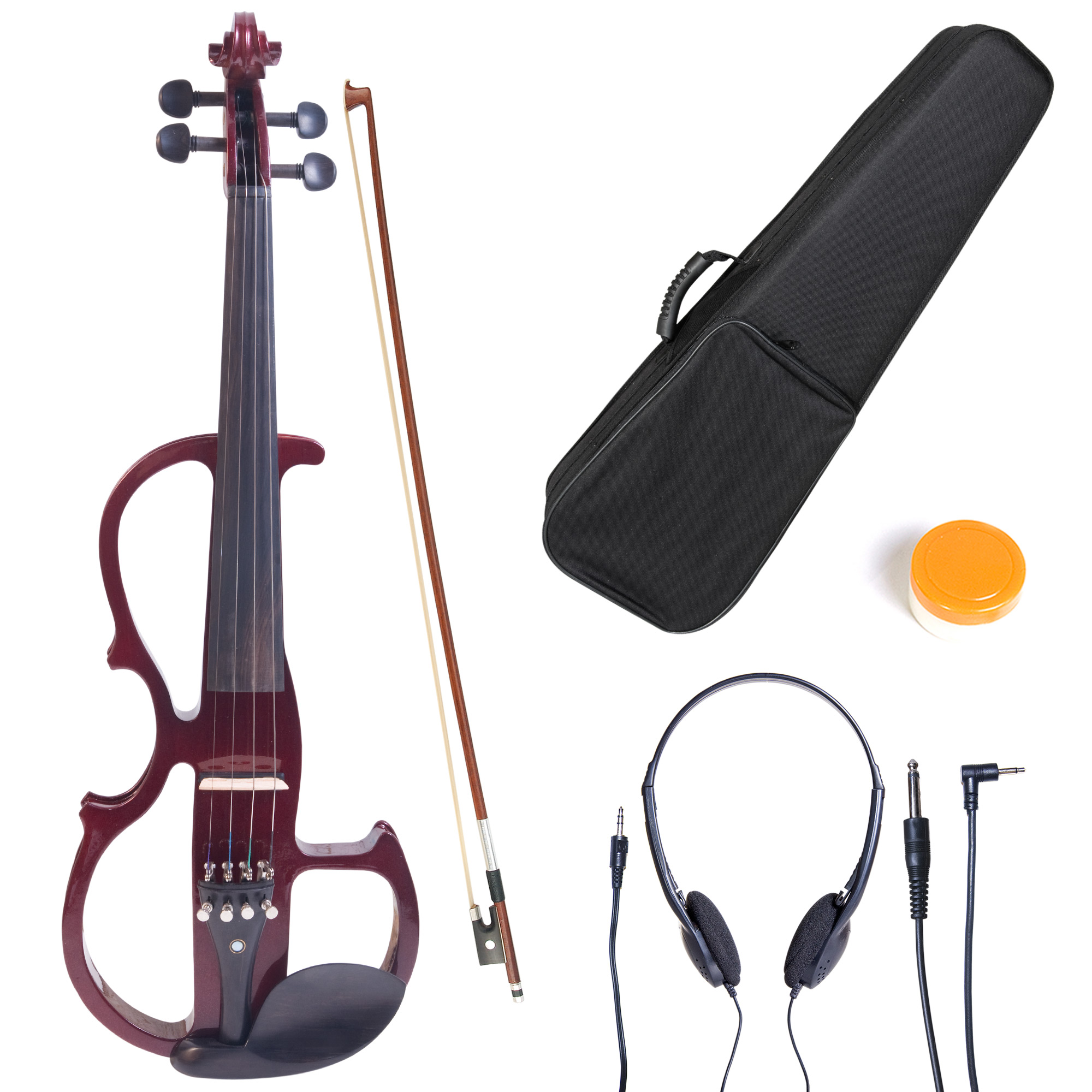 Cecilio Full Size Left-Handed Solid Wood Electric Silent Violin with Ebony Fittings-L4/4CEVN-L2NA Metallic Mahogany