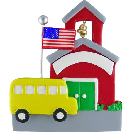 School with School Bus Personalized  Christmas Ornament DO-IT-YOURSELF