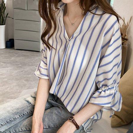 Comfortable Seven-Quarter Sleeve Stripe Printed Women Chiffon Shirts Female Daily Wear Turn-Down Collar Shirt Tops - image 5 of 8