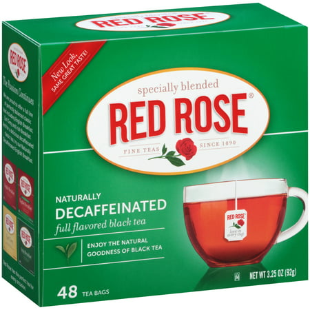 (6 Boxes) Red RoseÃÂî Naturally Decaffeinated Black Tea 48 ct. Box ()