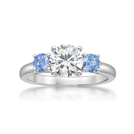 - Sterling Silver White and Fancy Blue Simulated Diamond Three Stones Ring