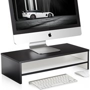 Fitueyes 21.3inch White 2 Tires Monitor Laptop Stand Computer monitor riser with keyboard Storage Space DT205401WW